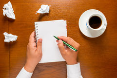 The author writes in a notebook your thoughts Stock Photography