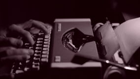 An Author Writing a Book on a Vintage Typewriter, Black and White stock video