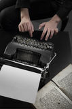 Old typewriter. Author writing on an old typewriter Royalty Free Stock Images