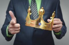 Authority. Award ceremony of the Winner. You win. Time to rule concept. Power of authority. Crown for new king stock images