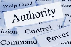 Authority Concept Words. Authority Concept - a conceptual look at authority, control, power, command, having the whip hand royalty free stock photos