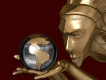 Authority of gold. Globe in hands of the gold girl, 3D rendering Stock Photo
