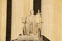 Authority of Law. The statue called The Authority of Law at the entrance to the US Supreme Court in Washington, DC royalty free stock image