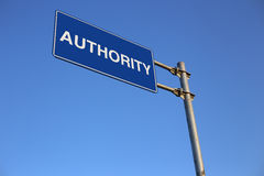 Authority Road Sign. With clear blue sky background Royalty Free Stock Photography
