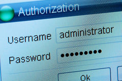 Authorization. Window of input of a login and the password Stock Photos