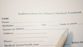 Authorization for Minor& x27;s medical Treatment print form. Child Name, Birthdate, age and other.  royalty free stock photo