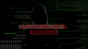 Authorization required unsuccessful hacking attempt on email box, angry criminal. Stock footage stock video