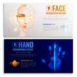 Authorization Verification Banners Set. Authorization verification horizontal banners set with biometric scanners symbols realistic isolated vector illustration Royalty Free Stock Image