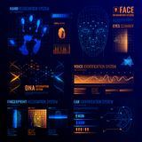 Futuristic Identification Interfaces Background. Authorization verification biometric scanners set of editable text and neon colored electronic interface Stock Image