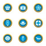 Authorization water icons set, flat style. Authorization water icons set. Flat set of 9 authorization water vector icons for web isolated on white background Royalty Free Illustration