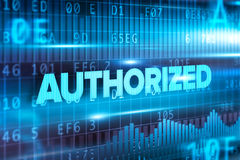 Authorized abstract concept blue text blue background Royalty Free Stock Photo