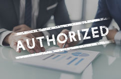 Authorized Allowance Permission Permit Approve Concept. Authorized Allowance Permission Permit Approve stock images