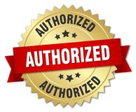 Authorized. Gold badge with red ribbon stock illustration