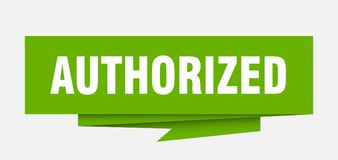Authorized. Sign.  paper origami speech bubble.  tag.  banner vector illustration