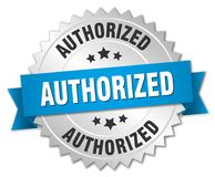 Authorized. Silver badge with blue ribbon royalty free illustration