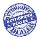 Authorized dealer rubber stamp. Blue grunge rubber stamp with the text authorized dealer written inside the stamp vector illustration