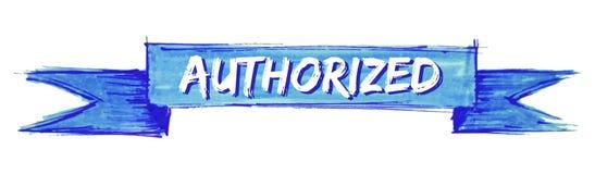 Authorized ribbon. Authorized hand painted ribbon sign royalty free illustration