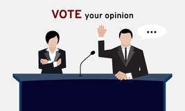 Authorized people in suit hand up over head and arm folding for election and hand vote in conference room or meeting vector illustration