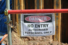 Authorized Personnel Only sign at the construction site. PERAK, MALAYSIA – SEPTEMBER 17, 2015: Authorized Personnel Only Sign fix at the barrier at the royalty free stock photos