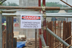 Authorized Personnel Only sign at the construction site. Royalty Free Stock Image