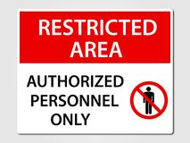 Authorized Personnel Sign on grey. Authorized Personnel Only security sign Stock Photos