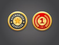 Authorized Reseller and First Place Golden Badges. EPS 10. RGB Stock Photo
