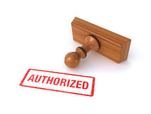 Authorized rubber stamp. Rubber stamp with authorized sign on the white background (3d render vector illustration