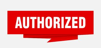 Authorized. Sign.  paper origami speech bubble.  tag.  banner stock illustration