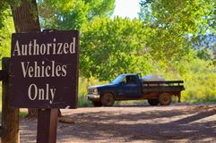 Authorized vehicles only sign royalty free stock photos