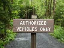 Authorized Vehicles Only wooden Sign royalty free stock images