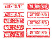Authorized Word Rubber Stamps Grunge Style Set Stock Photos