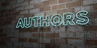 AUTHORS - Glowing Neon Sign on stonework wall - 3D rendered royalty free stock illustration Royalty Free Stock Photography