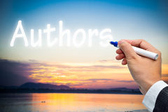 Authors word write. By Businessman royalty free stock photography
