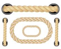 Autical Seil Ringsum und quadratische Seilrahmen, Schnurgrenzen Segelnvektor-Dekorationselemente Seilmarinesoldat, Seegrenze, Sch stock abbildung