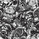 Autimobile car parts seamless pattern. Automobile car parts seamless pattern with monochrome black and white elements background Royalty Free Stock Photography