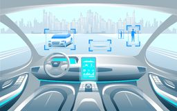Autinomous smart car inerior. Self driving at city landscape. Display shows information about the vehicle is moving, GPS, travel t. Ime, scan distance Assistance stock illustration