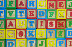 Autism. Wooden toy alphabet blocks speeling the word autism Stock Images