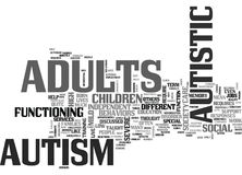 Autism In Adults Not Discussed Quite As Much Word Cloud. AUTISM IN ADULTS NOT DISCUSSED QUITE AS MUCH TEXT WORD CLOUD CONCEPT Stock Photos