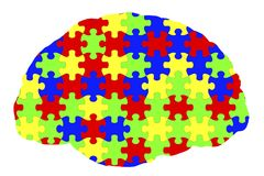 Autism awareness and autistic disorders concept. 3D illustration. Human brain and jigsaw puzzles Royalty Free Stock Photo