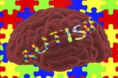 Autism awareness and autistic disorders concept. 3D illustration. Human brain and autism word made of jigsaw puzzles Stock Image