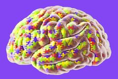 Autism awareness and autistic disorders concept. 3D illustration. Human brain and jigsaw puzzles Stock Image