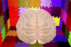 Autism awareness and autistic disorders concept. 3D illustration. Human brain and jigsaw puzzles Royalty Free Stock Images