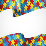 Autism Awareness Colorful Puzzle Flag Stock Photography
