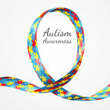 Autism Awareness Colorful Puzzle Ribbon Stock Images