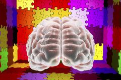 Autism awareness concept. Autism awareness and autistic disorders concept, 3D illustration. Human brain and jigsaw puzzles Stock Photography