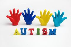 Autism awareness concept with colorful hands on white background. Top view. Autism awareness concept with colorful hands on white background Stock Image