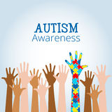 Autism awareness concept with hand of puzzle pieces. As symbol of autism Royalty Free Stock Photos