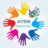 Autism awareness concept with hand of puzzle pieces. As symbol of autism stock illustration