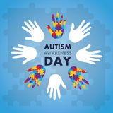 Autism awareness concept with hand of puzzle pieces as symbol. Vector illustration Stock Photos