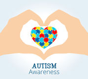 Autism awareness concept with hands holding heart of puzzle pieces. Autism awareness concept with heart of puzzle pieces Stock Image
